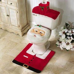 3шт Новогодние украшения Санта крышки унитаза и Коврик Набор Набор для ванной комнаты