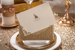 Wholesale champagne Personalized Customized Printing Wedding Invitations Cards Hollow Fashion Custom Made Cheap Foldable Champagne New Arrival Sale
