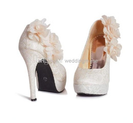 Wholesale Top Quality Flowers Lace Bridal Bridesmaid Luxury cm High Heels Party Prom Shoes Cheap Wedding Women s Shoes DL1311250
