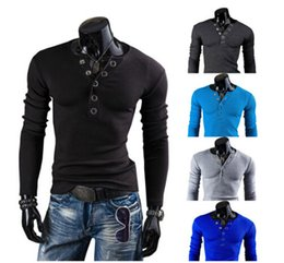 Wholesale Mens Thin Slim Buckle Decorated V neck Long sleeved Sweaters w Colors Size