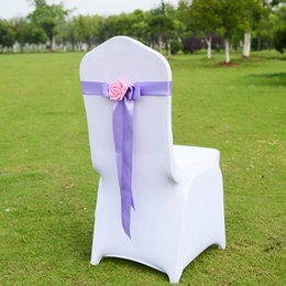 Wholesale Wedding supplies Chairs Cover Bows Colors Chose Hand Made Flower Satin Party wedding Bouquet Chair Decorations Whosale WWL