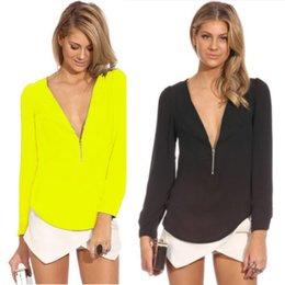 Wholesale S XXL New Arrived High Quality Women Long Sleeve Blouse Brand Women Deep V Neck Blouse Nice Design Women Chiffon Blouse