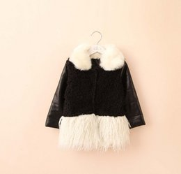 Wholesale Girls Solid Faux Fur Coats Girls Cotton PU Leather Splicing Winter Jackets Kids Clothes Holiday Solid Coat Top K5633
