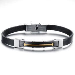 Wholesale Vintage Tribal Stainless Steel Mens Bracelet PU Leather Black Gold Cool