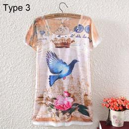 Wholesale Camiseta de las mujeres del verano la manera de señora manga corta del O cuello de impresión camiseta ocasional Tops Tipos