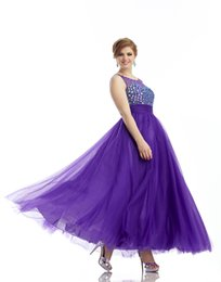 Wholesale 2015 Plus Size Special Occasion Dresses Beads Beading Crystal Sequins Applique Ankle Length Tulle Open Back Empire Prom Gowns