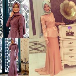 Wholesale lace tulle O neck lace Applique Long Sleeve Kaftan Abayas arabic dubai muslim dress