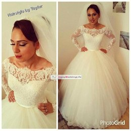 Wholesale Vestidos De Noiva Arabic Lace Long Sleeves Ball Gown Wedding Dresses Bateau Neckline Tulle Floor Length Plus Size Bridal Gown BO9327
