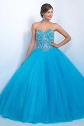 Wholesale 2017 azul baratos Quinceanera Debutante vestidos elegantes dulce dieciséis niñas vestido de bola de imitación de diamantes rebordeados noche formal vestido de baile
