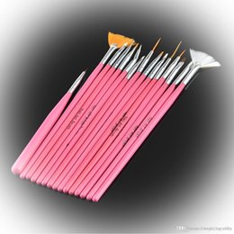 Wholesale Fashion durable unqiue beautiful high quality but cheap Makeup Art Design Polish Painting Nail Brush Pen Set Deep Pink Silver