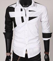 DORP ENVIO 2015 novos homens homens de costura de personalidade de camisa de mangas compridas camisa casuais de negócios casaco. @ C88