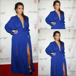 Wholesale Split Evening Dresses Kim Kardashian Long Sleeve V Neckvestidos de fiesta Red carpet Formal Dress Prom Celebrity Party Ball Gown Custom Made