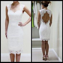 Wholesale White Short Wedding Dresses Cap Sleeves Bare Back Knee Length Sexy Sheath Lace Wedding Dresses Mini Beach Boho Wedding Dresses