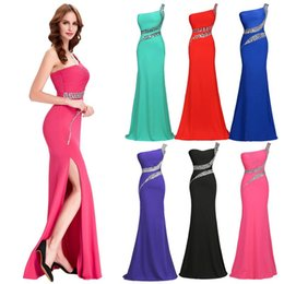 Wholesale Under Grace Karin Stock One Shoulder Beaded Long High Split Backless Bridesmaids Dress Sheath Mermaid Evening Prom Party Dress CL6062
