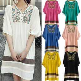 Wholesale 2014 New Embroidered Half Sleeve Cotton Pregnant Women Dress For Women s Clothing Free Size Hot