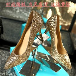 Wholesale Sexy Pointed Toe Wedding Shoes for Bride with High Stiletto Heels Silver Gold White Ivory Sequins Bridal Bridesmaid Party Prom Shoes Cheap
