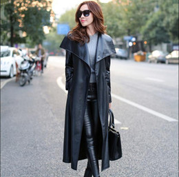 Discount Black Leather Trench Coat Ladies | 2017 Black Leather