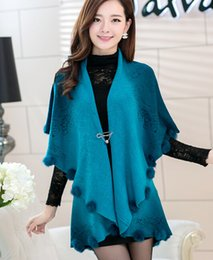 Wholesale New Fashion Women Knitted Cape Poncho Tops Elegant Knitting Wool Sweaters Cape for Lady with Fur Balls Women Top Coat ecc2269