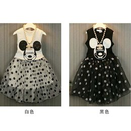 Wholesale Mickey Summer Tank Tops Child Clothes Kids Clothing Ruffle Maxi Skirt Fashion Korean Girl Dress Children Set Kids Suit Outfits C6271