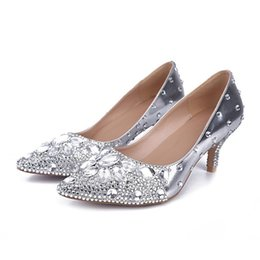 Discount Silver Heels For Prom Rhinestones  2016 Silver Heels For