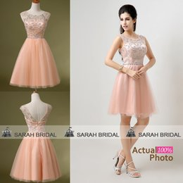 Wholesale In Stock Short Blush Tulle Homecoming Graduation Cocktail Party Dresses Cheap Sheer Crew Neck Crystals Beaded Mini Bridal Party Gowns