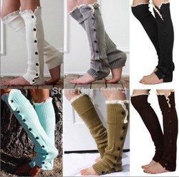 Wholesale 7 colors Women Crochet Button Down Boot Cuffs lace Button Braid Knit Leg Warmers Boot Socks Knee High Socks Frozen A906 pair
