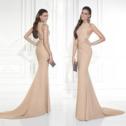 Wholesale Tarik Ediz Mermaid Evening Gowns Formal Dresses Sheath Crew Neck Sleeveless Draped Sweep Train Champagne Red Carpet Celebrity Dresses