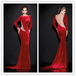 Wholesale 2015 Tarik Ediz Mermaid Evening Gowns with Long Sleeve Bateau Neckline Court Train Backless Formal Prom Dress with Crystal Beads