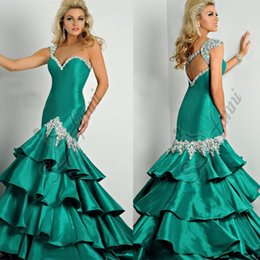 Wholesale 2015 Green Mermaid Style Prom Dresses Miss Evening Gowns With Sparkling Crystals Beaded Sequins Sweet Girls Pageant Dress For Teen Gown