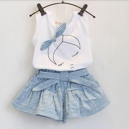 Wholesale New summer baby girl clothing Sets fashion Cotton shortsleeve T shirt and skirts girls clothes