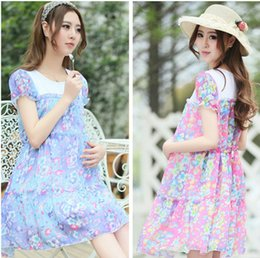 Wholesale Summer Fashion Shivering Flowers Short Sleeve Chiffon Dress for Pregnant Mothers Maternity Dresses