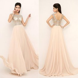 Wholesale New Prom Pageant Evening Dresses Formal Gowns With Nude Red Aqua Full Beaded Top Sheer Neckline
