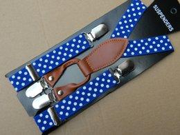 Wholesale High Quality Children Baby Clip Dots Printed Shoulder Belt Kids Leather Adjustable Suspenders Elastic Brace Boys Girls Pants Folder A3014