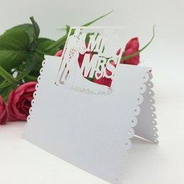 Wholesale 100Pcs pack Romantic White Mr Mrs Table Mark Name Place Card Wedding Decoration Event Party Supplies H15469