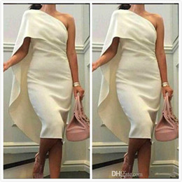 Wholesale 2015 One Shoulder Short Party Dresses Sheath Elegant Tea length White Cocktail Dress High Quality Stain Prom Evening Gowns Custom Made