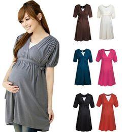 Wholesale 2014 New Comfortable Cotton Pregnant Women Summer High Wasit Maternity Breastfeeding Dress Short Sleeve V Neck Above Knee