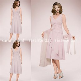 Wholesale 2015 Mother s Suits Dresses Of the Bride Groom For Plus Size Women Sale Cheap Knee Length Chiffon Summer Wedding Party Gowns with Wrap