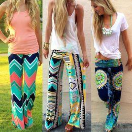 Wholesale 2015 Summer Fashion Women Print Pants Casual High Waist Flare Wide Leg Long Pants Palazzo Trousers Plus Size Floral Classic Exuma Pant