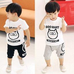 Wholesale Boom Art Boys Tee Shirts Sets Cute Pig Boy Tops Kids Trousers Short Pants Children s Suits kids Clothes Cotton