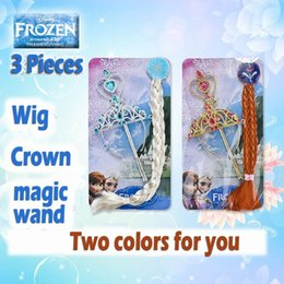 Discount frozen elsa anna dresses sets Frozen Anna Elsa Headbands 3pcs sets=Crown+ Wig+Wand Performances Headdress Hair Clips Hair Bows Christening Dresses Girls Danail box