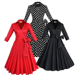 Wholesale Audrey Hepburn Vintage Style Casual Dresses European Fall Winter Long Sleeves Big Ruffles Women Plus Size Clothing OXL082209