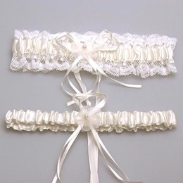 Wholesale Sexy New Bridal accessory satin lace ivory pink blue garter silk ribbon floral pearl wedding decoration garter
