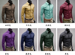 HOT Mens Slim Fit Casual Decote único elegante camisa de manga comprida Turn-down camisas Collar