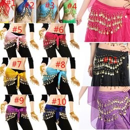 Wholesale New Belly Dance Skirts Scarf Hip Wrap Belt Chiffon silver golden Rows Gold Coins colors