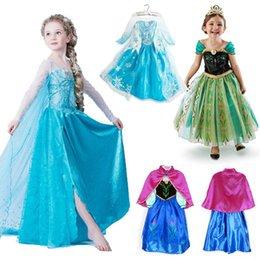 Wholesale 1pcs Frozen Dress Elsa Anna For Girl Princess Cosplay Party Dresses Cartoon Red Cape Brand Girls Children Clothes Kids dress Drop Shipping