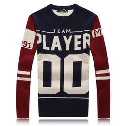 Wholesale 2015 New Arrival Sweater Men Fashion Letter Print Pullover Men Spring And Autumn Men s Sweater O neck Blusa Masculina Size XXL
