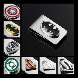 Wholesale Wallet Money Clip Superman Batman Spiderman Green Lantern Captain America Marvel Comics Superhero The Avengers Silver