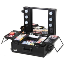 Wholesale professional Large multi layer makeup case Quality Comestic Tool storage box With Mirror