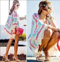 Wholesale 2015 Fashion Women New Women Boho Fringe Floral Kimono Cardigan Tassels Beach Cover Up Cape Jacket
