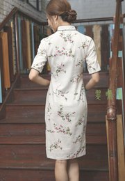 Wholesale China wind and women s cotton linen collar sleeve button in the summer Mo hand knee long dress